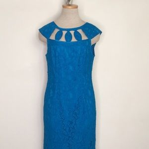 Adrianna Papell Dress Blue Lace Sheath Cut Out 6P